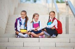 Escola primária do estudante feliz da estudante da amiga das crianças foto de stock royalty free
