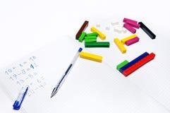 Escola primária: exercícios aritméticos Foto de Stock Royalty Free