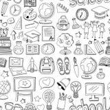 Escola sem emenda e educação do teste padrão do vetor da garatuja Imagens de Stock