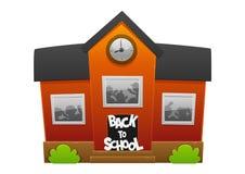 Escola vermelha com crianças do divertimento Imagens de Stock Royalty Free