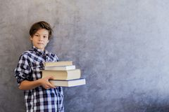 Escolar adolescente lindo que sostiene los libros Imagenes de archivo