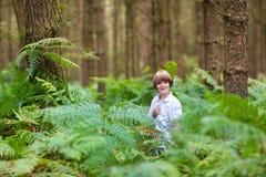 Escolar lindo que juega en un bosque del pino Imágenes de archivo libres de regalías