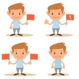 Escolar o estudiante elemental lindo Holding Red Flag conjunto ilustración del vector