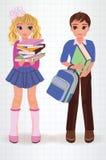 Escolar y muchacha Imagenes de archivo