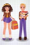Escolar y muchacha lindos, vector Imagen de archivo libre de regalías