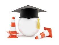 Escolas de condução do carro, cones do tráfego, construção de estradas Fotos de Stock