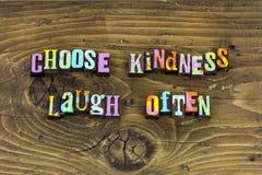 Escolha a bondade rir a tipografia frequentemente feliz imagem de stock royalty free