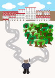Escolha a cidade ou vá verde Fotografia de Stock Royalty Free