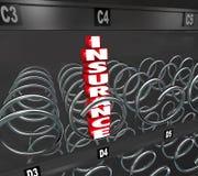 Escolha da cobertura de cuidados médicos da máquina de venda automática da palavra do seguro Fotos de Stock