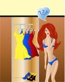 Escolha da forma. A menina pensa que desgastar do vestido Foto de Stock Royalty Free
