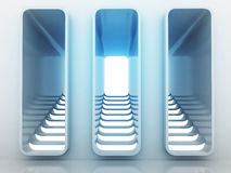 Escolha da maneira de três escadarias no projeto claro azul Fotografia de Stock Royalty Free