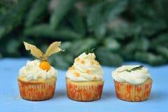 Escolha de três queques em um fundo de madeira azul Imagem de Stock
