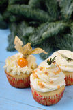 Escolha de três queques em um fundo de madeira azul Imagens de Stock Royalty Free