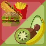 Escolha do alimento do vetor Frutos e orgânico contra o fast food ilustração stock