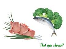 Escolha dos peixes ou da carne em um fundo branco Fotografia de Stock Royalty Free