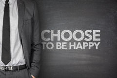 Escolha estar feliz no quadro-negro Imagem de Stock