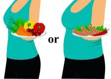 A escolha Fino e gordura Nutrição apropriada Foto de Stock