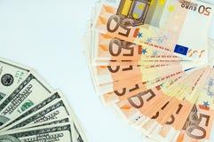 A escolha, o euro ou dólares Foto de Stock Royalty Free