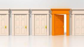 Escolha a porta alaranjada aberta Fotografia de Stock