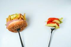 Escolha saudável ou da comida lixo Fotografia de Stock