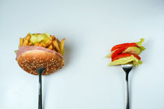 Escolha saudável ou da comida lixo Foto de Stock Royalty Free