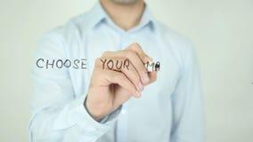 Escolha sua estratégia de marketing, escrevendo na tela transparente