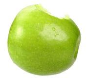 Escolha uma maçã verde com mordida Fotos de Stock