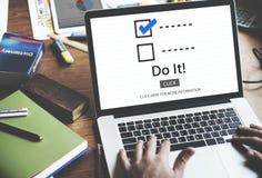 Escolhas da lista de verificação para fazer o conceito da avaliação da auditoria Foto de Stock