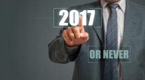 Escolhendo 2017 ou nunca Imagem de Stock Royalty Free