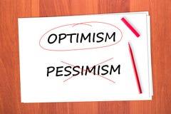 Escolheu a palavra OPTIMISMO Fotos de Stock