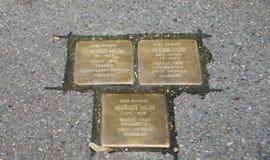 Escolhos em Konstanz, Alemanha São cubo concreto que carrega uma placa de bronze inscreida com as datas do nome e da vida de fotografia de stock