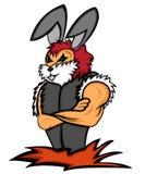 A escolta do coelho com braços cruzou desenhos animados ilustração stock