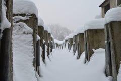 Escombros del edificio en la nieve Fotografía de archivo libre de regalías