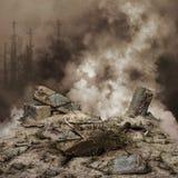 Escombros y humo Foto de archivo libre de regalías