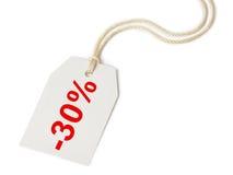Escompte 30% d'étiquette Photographie stock