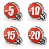 Escomptez 5, 10, 15, icône de la vente 3d de 20% réglée sur le fond blanc Photographie stock libre de droits