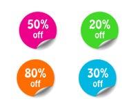 Escomptez l'autocollant de cercle avec de la La faisante le coin courbée de vente d'offre spéciale Images stock