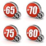 Escomptez l'icône de la vente 3d de 65% 70% 75% 80% sur le fond blanc Image stock