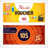 Escomptez le calibre de film de bon, chèque-cadeaux de cinéma, bon illustration stock