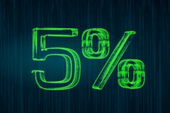 Escomptez le concept, inscription lumineuse de 5 pour cent, le rendu 3D Photo stock