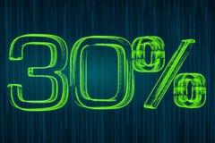 Escomptez le concept, inscription lumineuse de 30 pour cent, le rendu 3D illustration stock