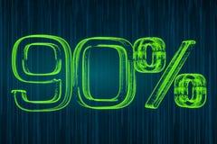 Escomptez le concept, inscription lumineuse de 90 pour cent, le rendu 3D illustration stock