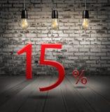 escomptez 15 pour cent avec l'offre spéciale des textes votre remise dedans Images libres de droits