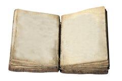Esconda el libro abierto de la vendimia aislado en blanco Imagen de archivo