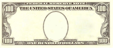 Esconda la cara del retrato de Bill de dólar 100 imagen de archivo