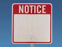 Esconda la muestra del aviso Foto de archivo