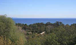 Escondido Canyon Panorama. Panoramic view of the Pacific from the hills above Malibu, CA Royalty Free Stock Photos