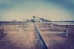 Escope of work at solar power plant tracking to sun. Installing solar tracking power plant; scope of work at solar power plant tracking to sun royalty free stock photos