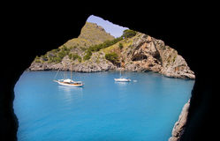 Escorca Sa Calobra view from a cave in Mallorca Stock Photography