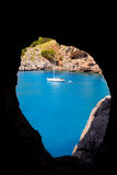 Escorca Sa Calobra view from a cave in Mallorca Royalty Free Stock Image